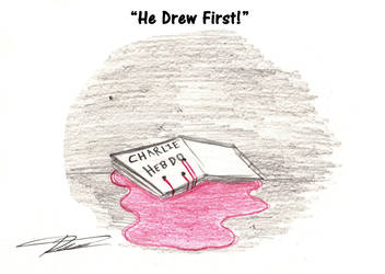 He drew First!_ Charlie HebdoTragedy by Evil-Rick