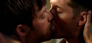 Painted Destiel: Kiss 2 by LicieOIC
