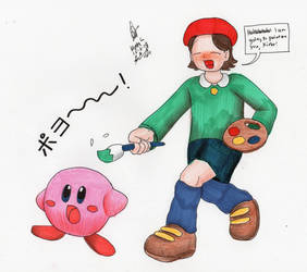 Adeleine tries painting on Kirby by MatthewGo707