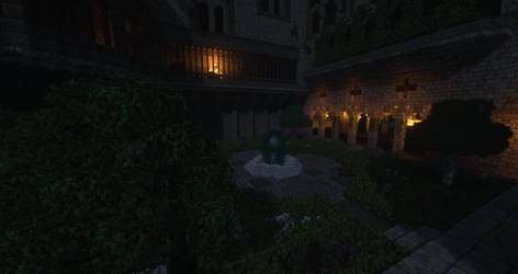 Tainted Halls - A moonlit courtyard by MythrilAngel
