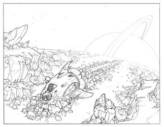 Spaceship Crash lineart by legrosclown