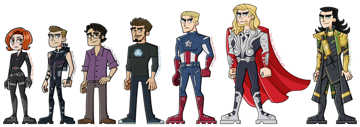 The Avengers plus Loki by sry005