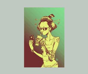 Robo Geisha silkscreen color study by Tribemun