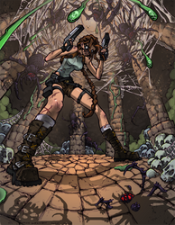 Lara Croft : Nightmare Spiders by bezzalair