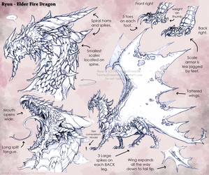 Ryuu Dragon Ref Sketches by bezzalair