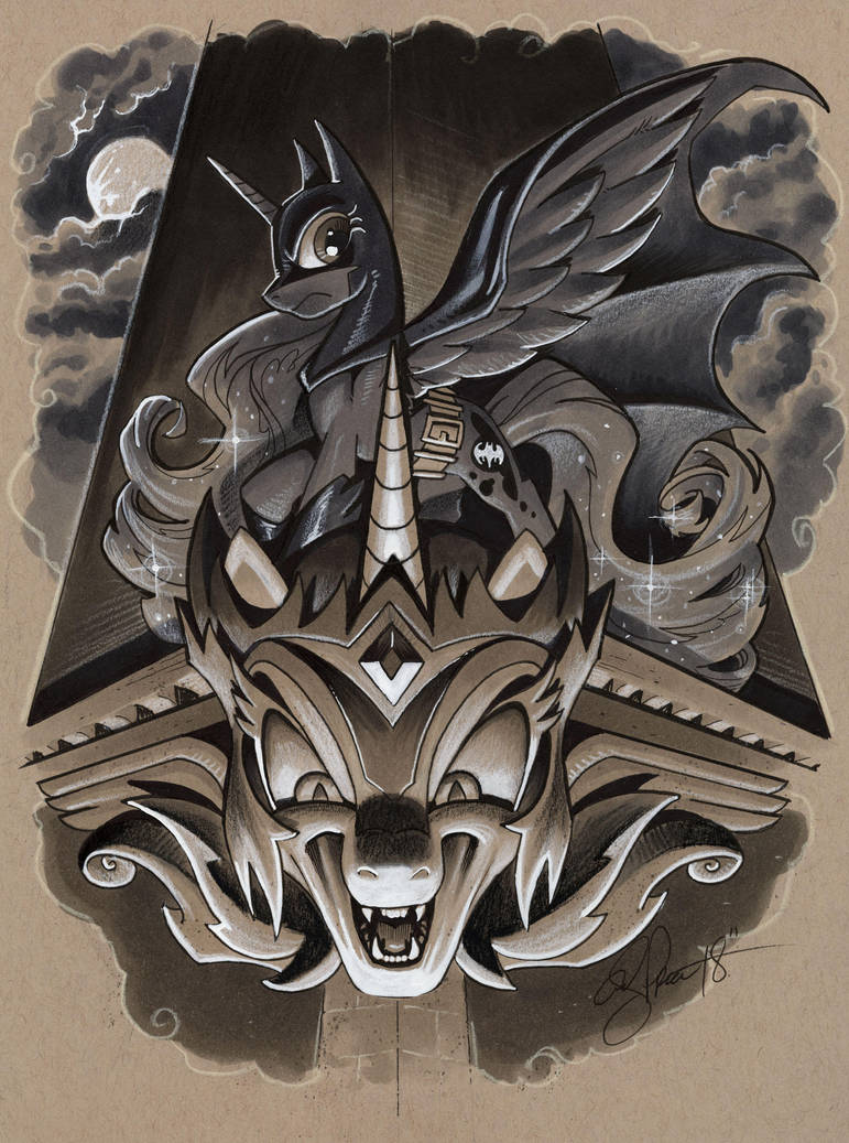 Luna as Batman atop Daybreaker gargoyle by andypriceart