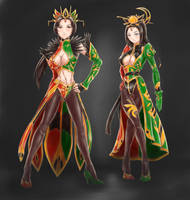 Zhenji,the Queen of Shu with Cai Wenji the Servant by LeeBigTree
