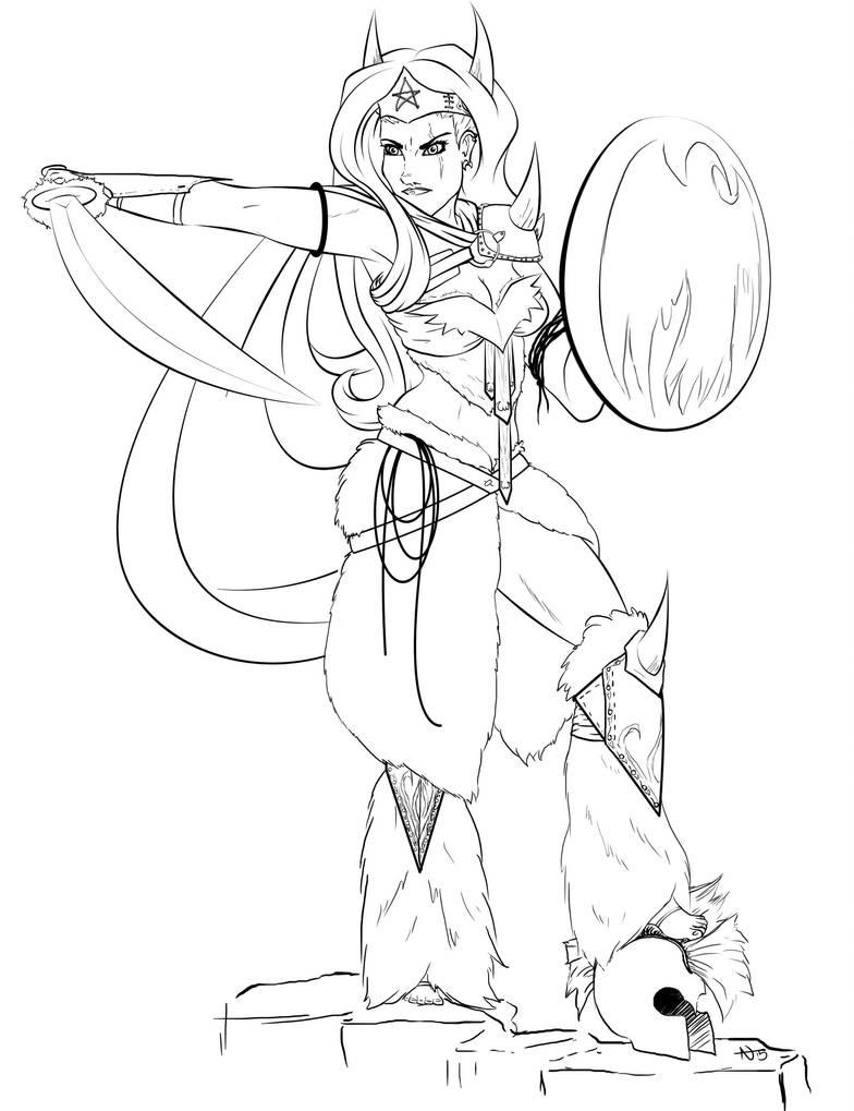 Barbarian Wonder- Line art by InkCell-Illustration