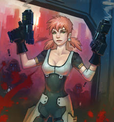 Girl with double pistols by XiaTaptara