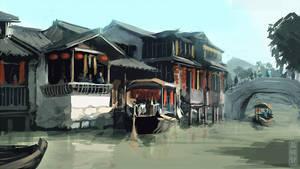 Riverside market speedpaint by XiaTaptara