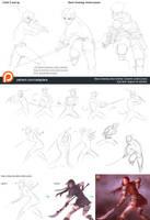 Drawing action poses by XiaTaptara