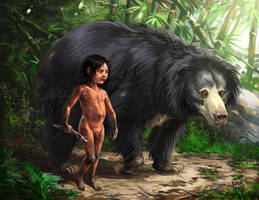 Mowgli and Baloo by Kaek