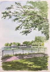 A park with a big pond by blacktsubu