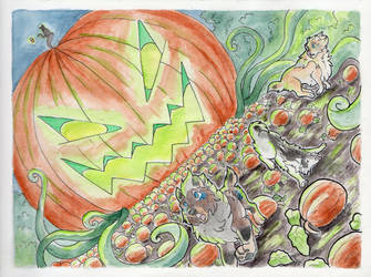[Toko/Traditional Art] Panic in the Pumpkin Patch by TheVerdantHare
