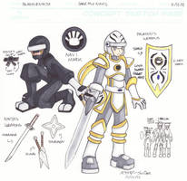 UP Concept Sketch Page: Paladin and Ninja by SLiDER-chan