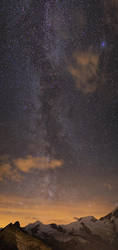 Allalinhorn, Alphubel and Milky Way by Arafinwearcamenel