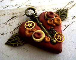 Copper Steampunk Heart Pendant by RoyalKitness