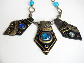 Blue Stone and Gold Polymer Clay Necklace by RoyalKitness