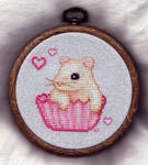 Hampster Cupcake Cross Stitch by TalyrasMirror