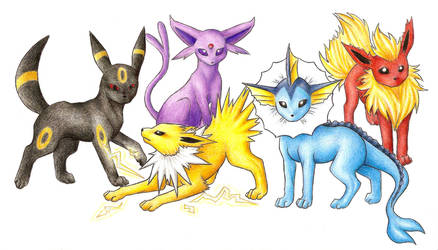 Eevee Evolutions by grouchywolfpup
