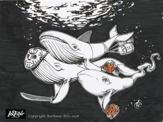 Inktober 2018 #12 - Whale by Ejderha-Arts