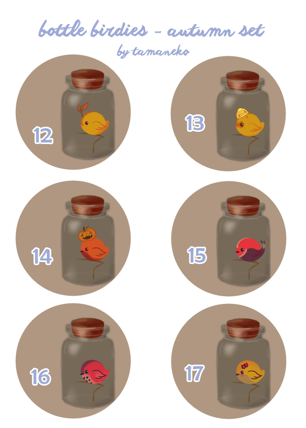 [Adoptables] Bottle Birdies [6/6 OPEN] by tamaneko-i-b
