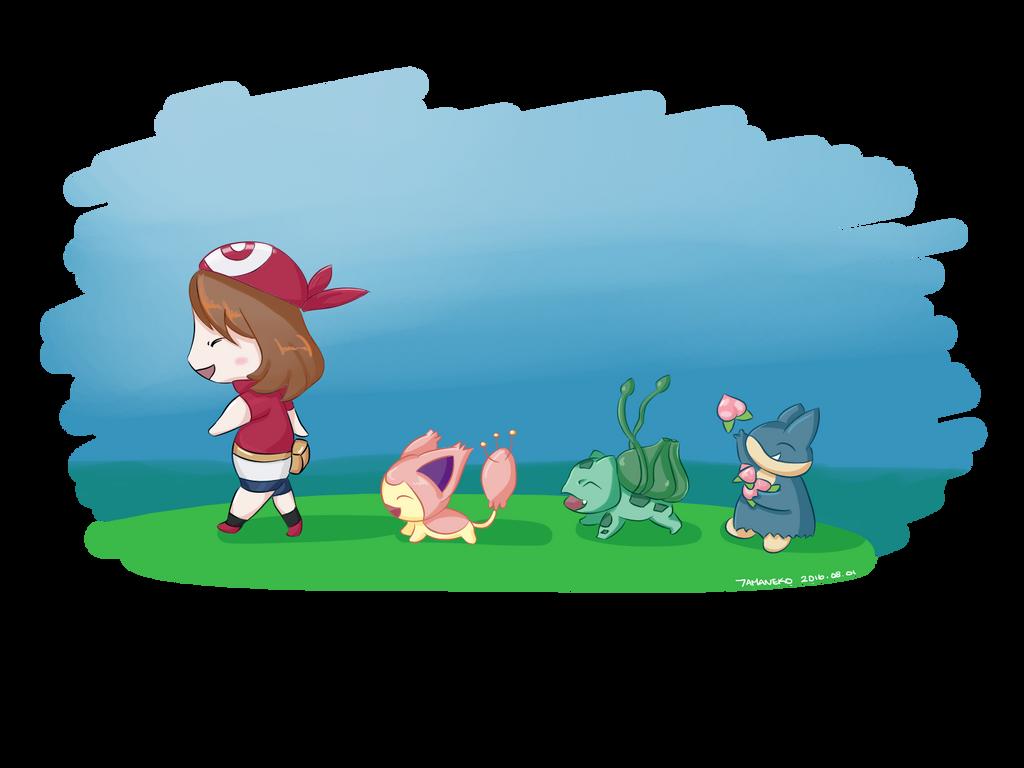 [Speedpaint] Pokemon - Chibi May + Pokemon by tamaneko-i-b