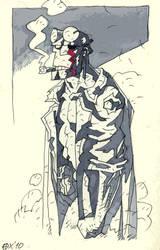 One-eyed Hellboy sketch by OXOTHUK