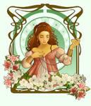 Art Nouveau - Pearl Necklace by Isis-M