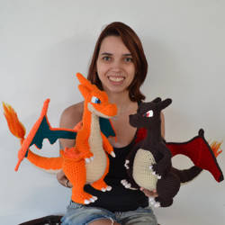 Mega Charizard Y and Shiny Charizard amigurumis by MiaHandcrafter