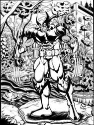 Wolverine in a modern japanese garden by The-Standard