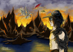 My OC : Caliel and the black mountains by Diddha