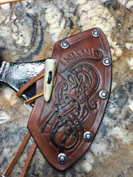 Leather Norsehawk axe cover by TheGuildedPlane