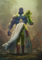Saitama Vs Thanos by Drawslave