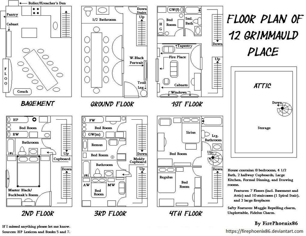 12 Grimmauld Place Floor Plans By Firephoenix86 On Deviantart
