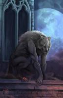 Werewolf woof on the roof by NightmareMoonLuna