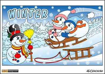 Snowmens on a sled by KrzysztofCzachura