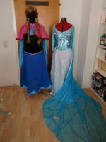 Frozen -  Elsa and Anna costumes by CheshireCat1