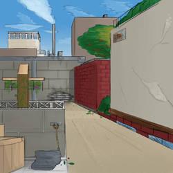 Sketch - Back ally by RealBigNUKE