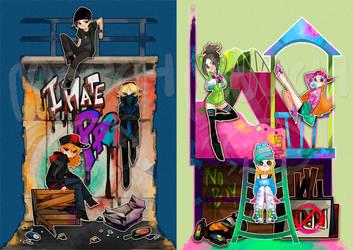 Kids in street art by MOUCHbart