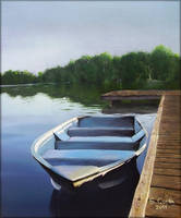 Boat at sunrise by amothep