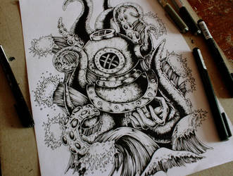 Diver (tattoo design) by EG-TheFreak