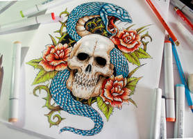 Snake And Skull forearm tattoo with  COLOR by EG-TheFreak