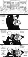 Dadster and Papyrus comic - First day. by TheBombDiggity666