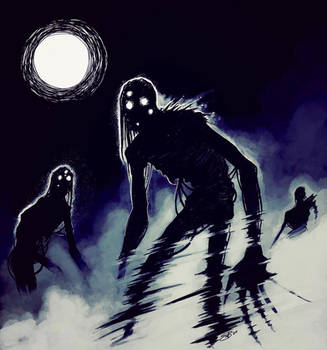 Inktober 2018 - Mist Walkers by Sleyf