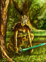 Eshana, the jaguar knight by Vilenchik