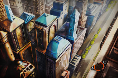 View of the fantasy city from the flight height by Vilenchik