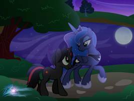 Walk by the moon by RainbowDashie
