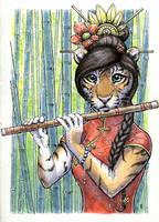 Flute-playing tigress by Zajiru