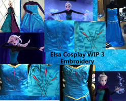 Coronation Elsa Cosplay WIP 3 Embroidery by MishaCosplay